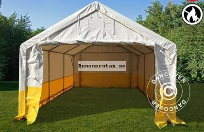 Förvaringsarbetstält PRO 4 x 6 m, PVC Vit/Gul Flamsäker
